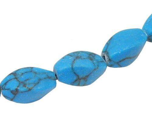 35 Türkis Steine Perlen 11 x 6 mm Natur Oval Edelsteine Schmucksteine BEST G774
