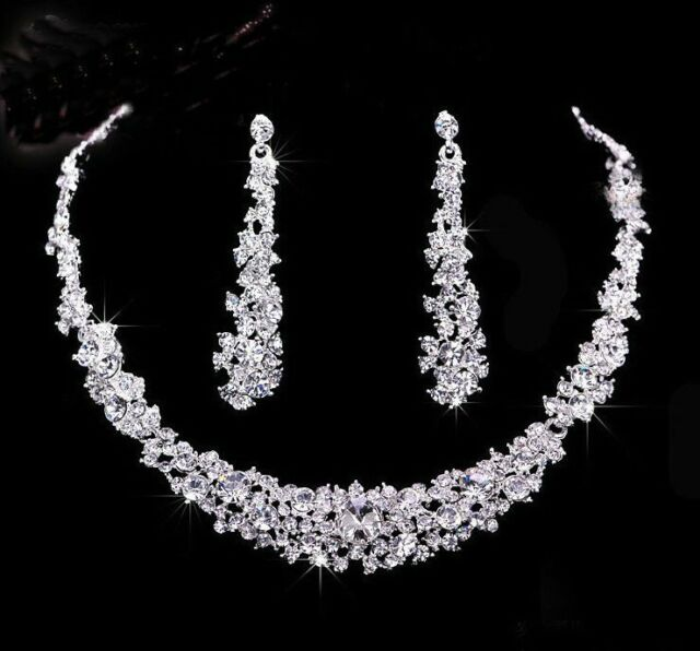 new crystal bridal wedding Jewelry Necklace Eearrings set Bridesmaid party proms