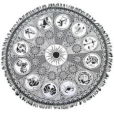 Black Zodiac Round Mandala Tapestry Hippie Wall Hanging Beach Throw With Fringes