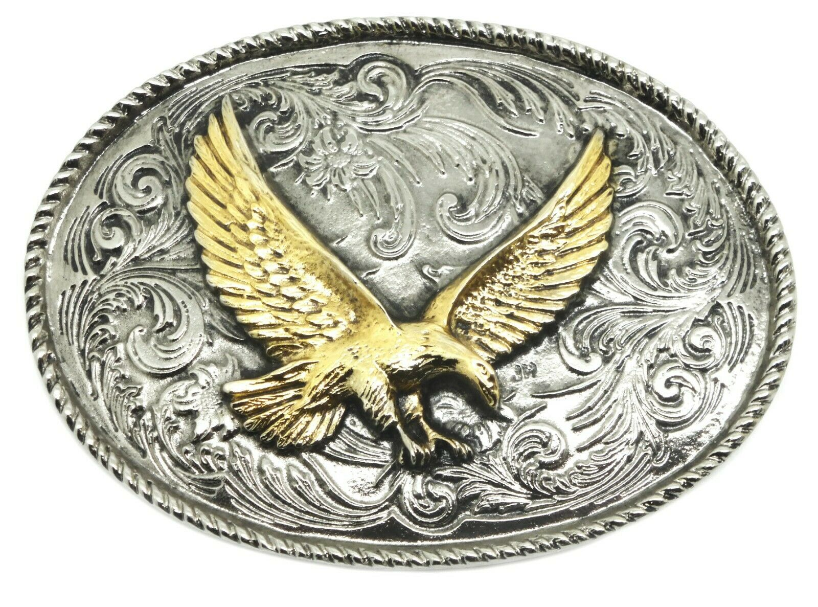 American Rodeo Eagle Belt Buckle Western Style Floral Oval White Wolf 24ct Gold
