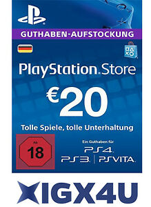 Playstation Network Card 20€ PSN 20 Euro Playstation Prepaid Key Sony PS3 PS4 DE
