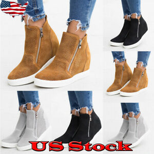 Womens-Hidden-Wedge-Heel-Mesh-Sneakers-Trainers-Casual-Zipper-Ankle-Boots-Shoes