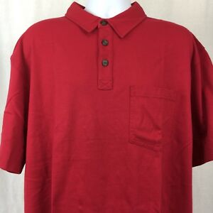 Duluth-Trading-Polo-Shirt-Longtail-Mens-Cotton-Short-Sleeve-Pocket-Red-Size-XL