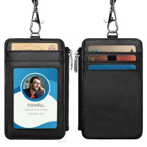 Black-Leather-Business-ID-Badge-4-Card-Slot-Holder-amp-Lanyard-Neck-Strap-Wallet