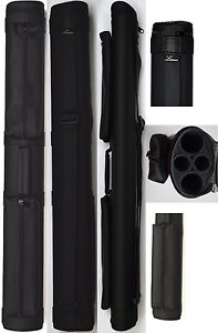 NEW-Lucasi-LC22M-2x2-BLACK-MATTE-Finish-Pool-Cue-Case-Two-Accessory-Pouches