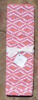 Pottery Barn Isa Ikat Yarn Dye Table Runner Pink / Orange 18 X 108
