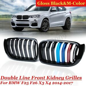Gloss-Black-amp-M-Color-Front-Kidney-Grill-Grille-For-BMW-F25-F26-X3-X4-2014-2017