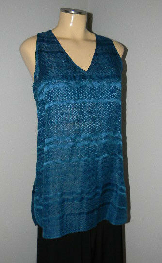 VINCE  LAKE blueE Textured Linen Blend Tank Tunic TOP Sz S  NWT