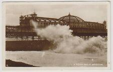 Sussex (East) postcard - A Rough Sea at Brighton - RP - P/U 1931