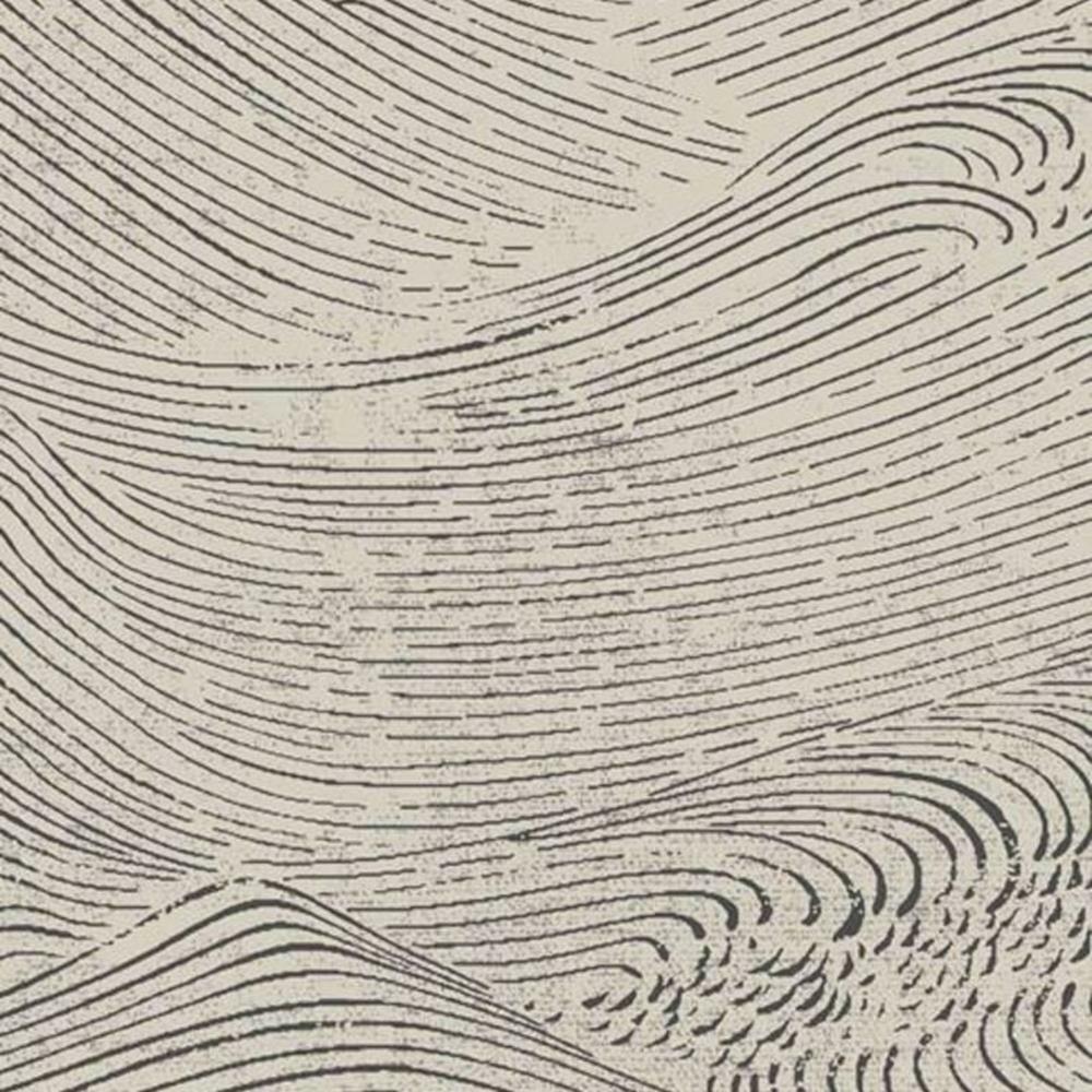 386531 - Enso Ausrollen Waves Schwarz Beige Eijffinger Tapete