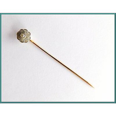 18k GOLD & Natural Diamonds - HatStick, Pin, Tie Pin, Lapel Pin