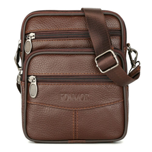 Vintage Men/'s Genuine Cow Leather Messenger Bags Cross body Handbag Shoulder Bag
