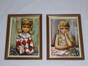 Pr-Vtg-Mid-Century-Big-Eye-Waif-Harlequin-Girl-Prints-Framed-under-Glass-Kitschy