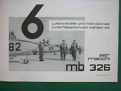 1964-1966 PUB AVION AERMACCHI MB 326 JET TRAINER ALITALIA ORIGINAL FRENCH AD