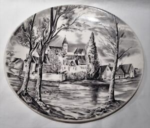 Vintage-Johnson-Brothers-Dream-Town-Black-Colourway-Oval-Plate-Made-In-England