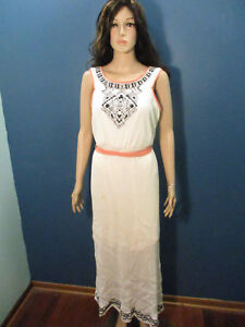 Details about plus size 14 / 16W white lined vertical crushed hippie dess  by CATO - peach trim