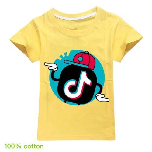 Boys Girls Kids Tik Tok Cotton Printing Short Sleeve T-shirt Summer Clothing Top
