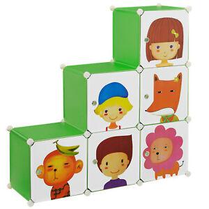 Kinder-Regalsystem-DIY-110x110cm-Kleiderschrank-Steck-Kommode-Motiv