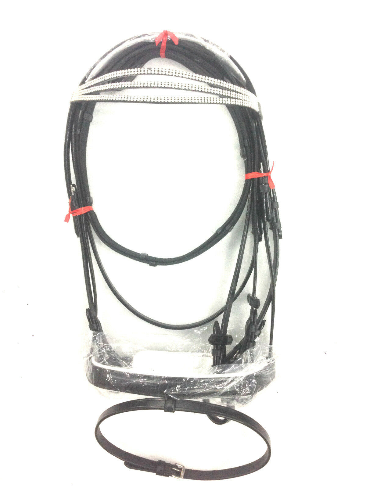 New Leather English Bridle with Triple Diamond Chain FREE Reins and Shipping