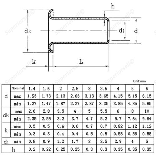 70pc M5 x Copper Brass Eyelet Hollow Tubular Rivets Through Nuts Kit 4mm-12mm
