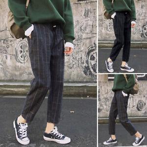 ZANZEA-Femme-S-5XL-Pantalon-a-carreaux-Verifier-Poches-Ample-Jambes-larges-Plus