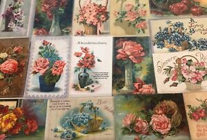 Lot-of-20-Flowers-in-Vases-amp-Baskets-Antique-Floral-Greetings-Postcards-s-18
