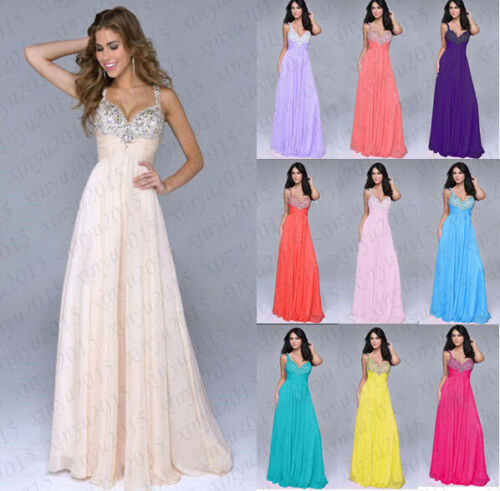 New Long Formal Evening Ball Gown Party Prom Bridesmaid Dress Stock Size 6-18