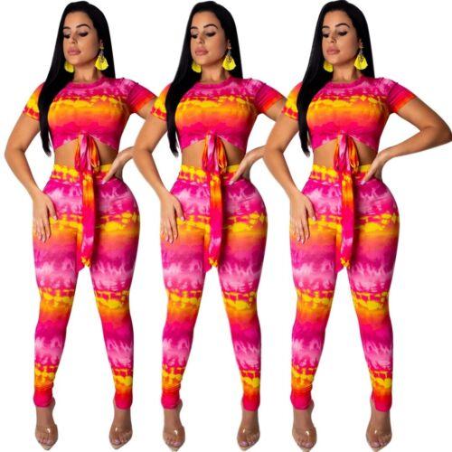 Women Fashion Short Sleeve Print Bandage Top Casual Pants Set Club Jumpsuit 2pc