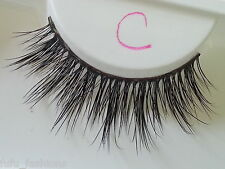100% Natural Reduced MINK False Flutter Celeb 3D C Lashes Lilly Hand Made Thick