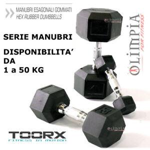 TOORX-MANUBRIO-ESAGONALE-GOMMATO-da-1-a-50KG-Professionale-IMPUGNATURA-CROMATA