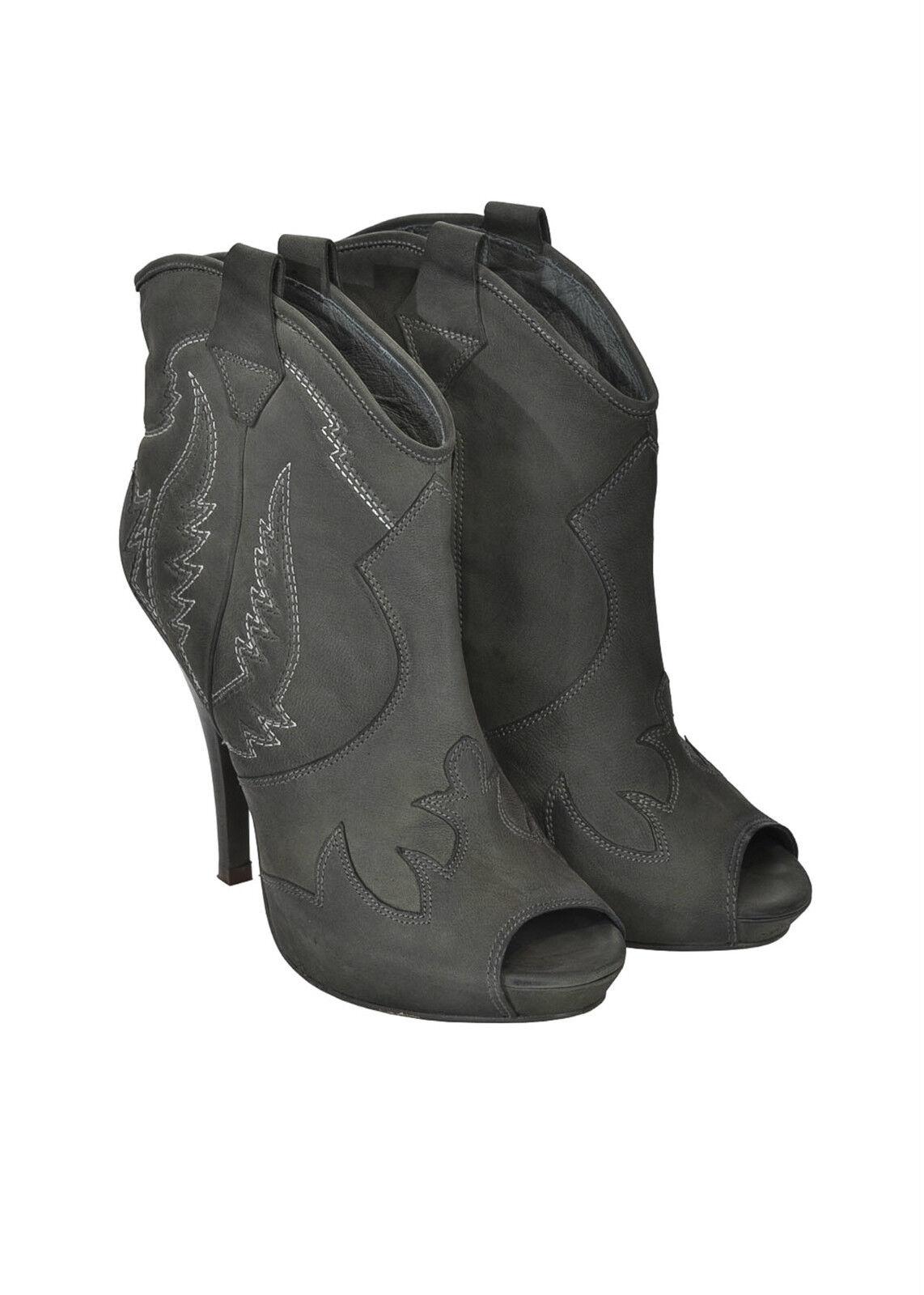 ASH Ankle botas in pelle punta tonda aperta cerniera laterale pelle 100% PROMO