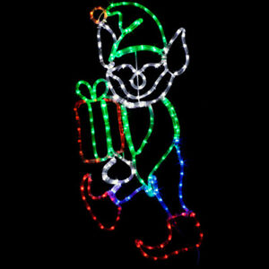 LED-Christmas-Elf-with-Present-Outdoor-Rope-Light-Holiday-Yard-Decoration-NEW