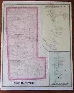 1877 Map Of New Hanover Zieglerville Limerick Square Montgomery