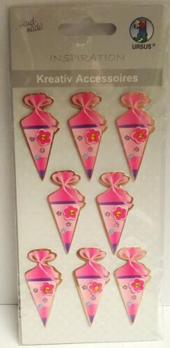 """Sticker /""""Schultüte rosa Zuckertüte Einschulung pink/"""" 3D Aufkleber Ursus"""