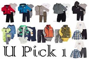 NWT Carter/'s 3 Pc Set Hoodie Jacket Pants Bodysuit Navy Blue Green  6 or 18 Mo