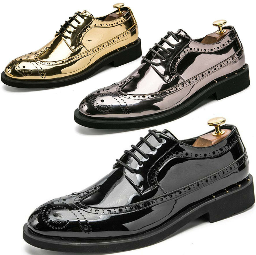 Men Patent Leather Casual Smart Dress Formal Office Brogue Oxfords Wed shoes New
