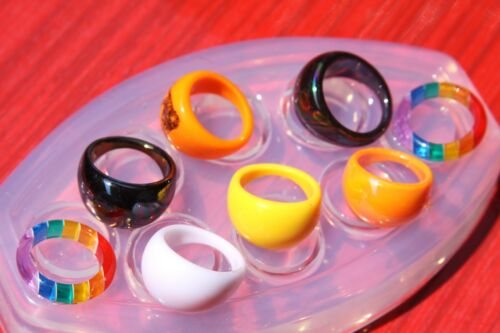 Clear handmade Silicone Mold for 8 Ring ,size 7 8 9 317 Free USA Shipping.