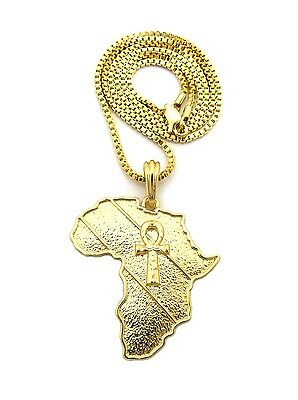 """Hip Hop Gold Micro Egyptian Pave Ankh Cross Pendant 24/"""" Box Chain Necklace XQP14"""
