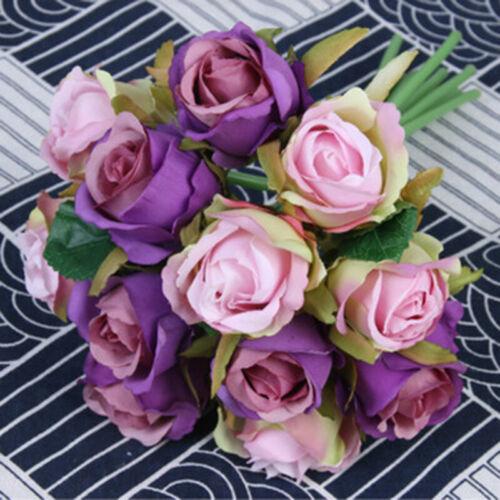 12 Köpfe Künstliche Rose Rosen Blumenstrauß Seidenblumen Hochzeit Deko