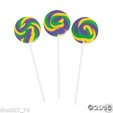 """38 Party Favors MARDI GRAS Candy BUFFET Table MINI SWIRL POPS Lollipop 1.5"""""""
