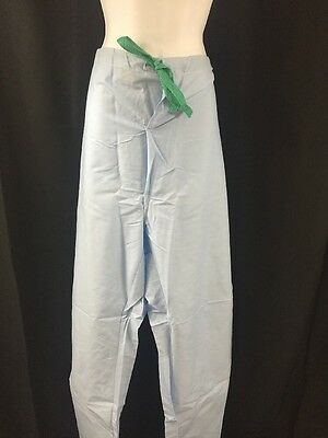 ONE NEW HOSPITEX Men/'s Pajama Pants Trousers Light Blue Medium w//Red Drawstring