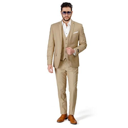Beige Tan Slim Fit Costume Smoking 2 Bouton Cran Revers Gilet facultatif montée par Azar