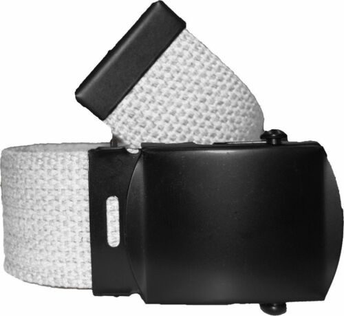 WHITE BELT WITH BLACK BUCKLE 100/% Cotton Military Web Belts Rothco 4294