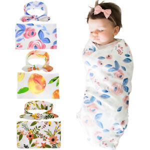 Newborn-Baby-Infant-Floral-Swaddle-Wrap-Swaddling-Sleeping-Bag-Blanket-amp-Headband