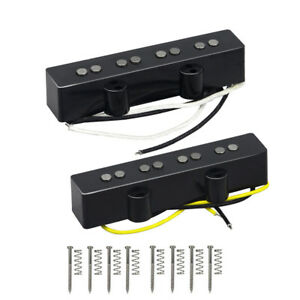 NEW-Alnico-5-4-String-Jazz-Bass-Pickups-Single-Coil-Neck-amp-Bridge-Pickups-Black