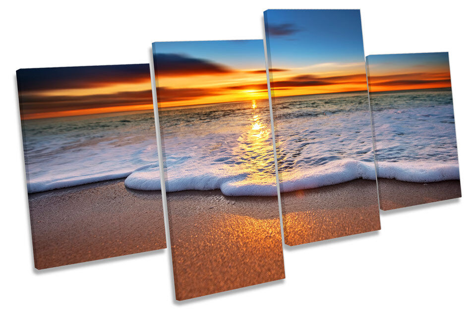 Sunset Beach Surf Wave Sand CANVAS WALL ART Four Panel Print