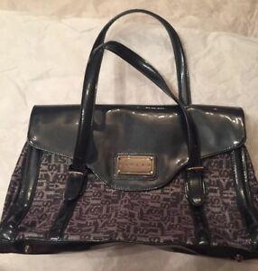 SISLEY Black  silver cancel Nylon Large Shoulder Bag Purse Handbag ... b637b3c0df2f6