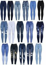 New Womens High Waisted Knee Cut Distressed Stretch Skinny Slim Fit Denim Jean