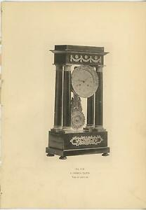 ANTIQUE ORNATE FRENCH CLOCK TIME OF LOUIS XVI HOROLOGY 1897 OLD PRINT PICTURE