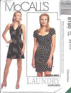 8190-McCalls-SEWING-Pattern-Misses-Halter-Dress-UNCUT-Laundry-Shelli-Segal-OOP